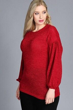 Womenice Büyük Beden Kırmızı Kolu Balon Pileli Bluz 1