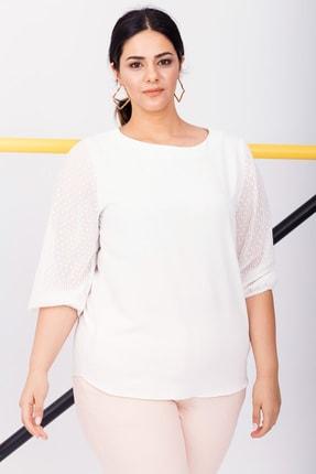 Kadın Beyaz Büyük Beden Abiye Şifon Bluz resmi