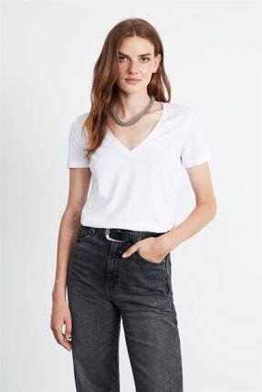 GRIMELANGE Paısley Kadın Beyaz V Yakalı Kısa Kollu T-shirt 0