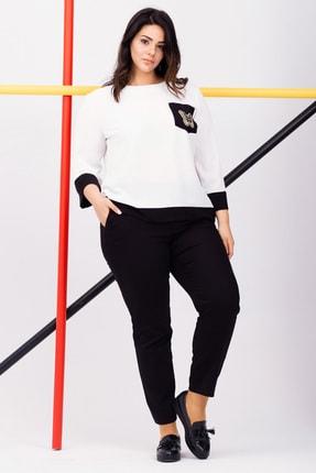 Kadın Beyaz Büyük Beden Kayık Yakalı Şifon Bluz resmi