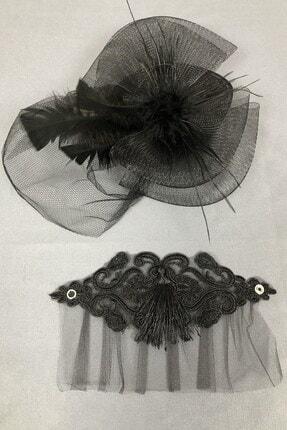 Hayalperest boncuk Siyah Vualet Şapka Ve Bileklik Aksesuar 2