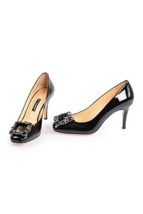 Flower Siyah Kare Tokalı Kadın Topuklu Ayakkabı 3