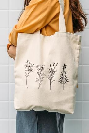 Çınar Bez Çanta Kanvas 4'lü Çiçek Dalları Tasarımlı Bez Çanta 0