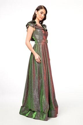 Abiye Sarayı Yeşil Kemer Detaylı Kolları Volanlı Uzun Abiye Elbise 2