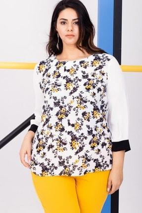 Kadın Beyaz Büyük Beden Çiçek Desenli Bluz resmi