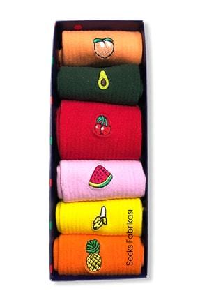 Socks Fabrikası Renkli Meyve Nakışlı 6'lı Çorap Kutusu 1