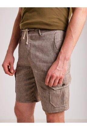 Dufy Kahve Melanj Ip Detaylı Cepli Keten Karışımlı Erkek Short - Modern Fit 0