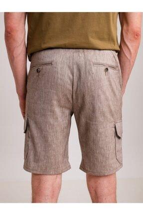 Dufy Kahve Melanj Ip Detaylı Cepli Keten Karışımlı Erkek Short - Modern Fit 1