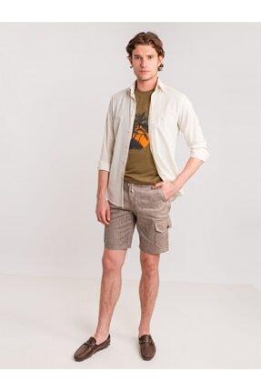 Dufy Kahve Melanj Ip Detaylı Cepli Keten Karışımlı Erkek Short - Modern Fit 2
