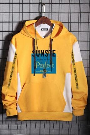 WEST BULLS California Unisex Oversize Sarı %100 Pamuk Kapüşonlu Baskılı Sweatshirt 4