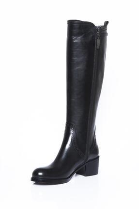 Deripabuc Hakiki Deri Siyah Kadın Deri Çizme Dp01-2064 4
