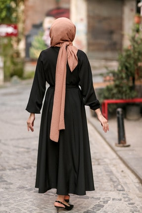 benguen 7069 Tesettür Elbise - Siyah 4