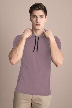 Tena Moda Erkek Pudra Kapüşonlu Düz Tişört 2