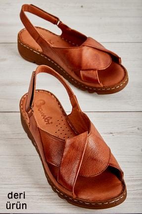 Bambi Hakiki Deri Taba Kadın Sandalet L0529001803 0