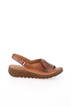Bambi Hakiki Deri Taba Kadın Sandalet L0529001803 1