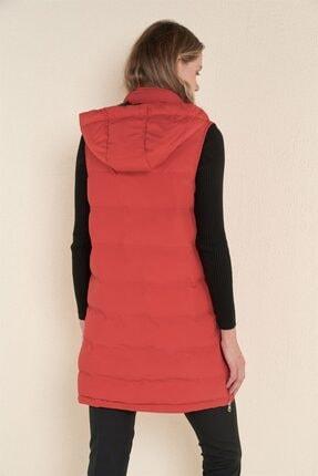 Z GİYİM Kadın Kırmızı Kapşonlu Uzun Şişme Yelek 3