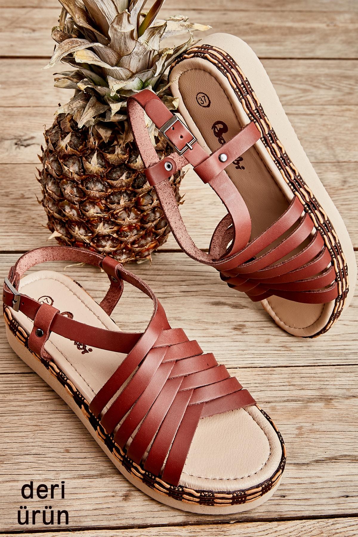 Hakiki Deri Taba Kadın Sandalet L0808500603