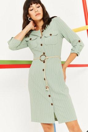 Kadın Mint Yeşili Midi Boy Gömlek Elbise 20Y401941