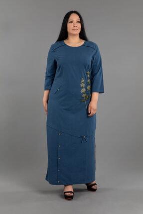 Aplike Detaylı Uzun / Maxi Keten Elbise NC2477