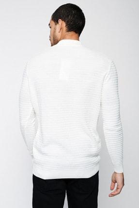 Lafaba Erkek Beyaz Fermuarlı Triko 3