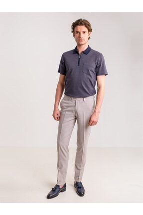 تصویر از Bej Melanj Likra Karışımlı Klasik Erkek Pantolon - Modern Fit