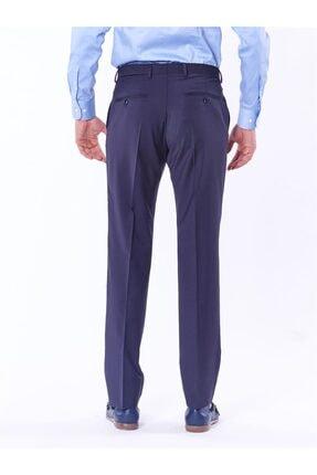 Dufy Lacivert Düz Bez Ayağı Dokuma Kumaş Erkek Pantolon - Regular Fıt 0