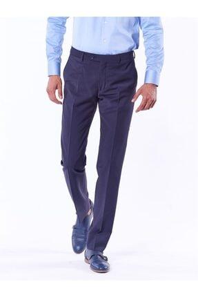 Dufy Lacivert Düz Bez Ayağı Dokuma Kumaş Erkek Pantolon - Regular Fıt 4