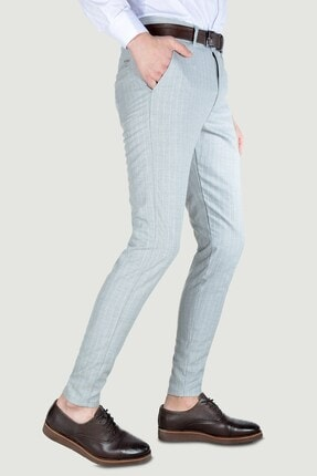 Terapi Men Erkek Çizgi Desenli Slim Fit Keten Pantolon 20y-2200268 Gri 2
