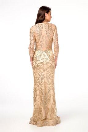 Abiye Sarayı Gold Transparan Detaylı Simli Uzun Abiye Elbise 1