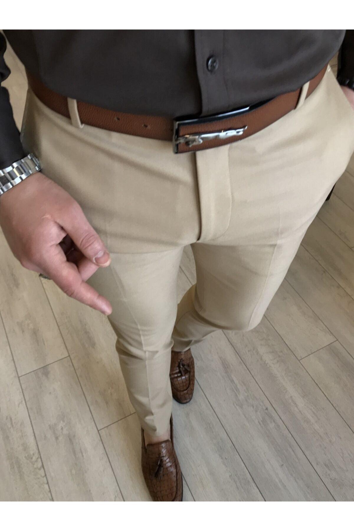 Italyan Stil Slim Fit Erkek Kumaş Pantolon Açık Camel T4678