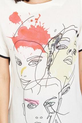 Lafaba Kadın Kırmızı Yüz Baskılı Bluz 4