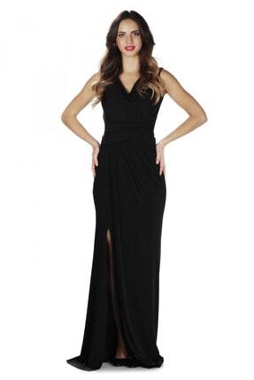 CARMEN Siyah Sandy Yırtmaçlı Uzun Abiye Elbise 0