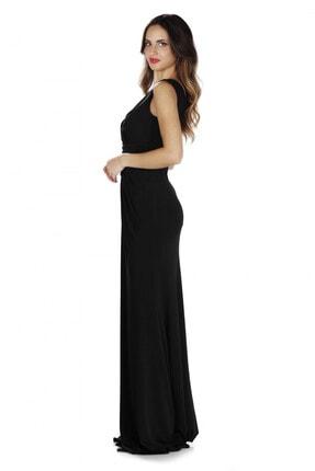CARMEN Siyah Sandy Yırtmaçlı Uzun Abiye Elbise 2