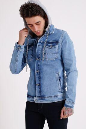 تصویر از Erkek Çıkarılabilir Kapüşonlu Buz Mavisi Random Yıkamalı Kot Ceket