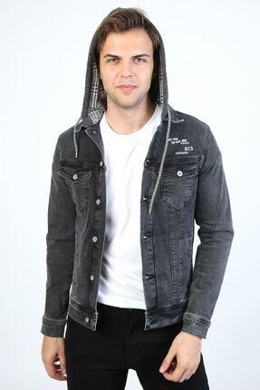 تصویر از Erkek Baskı Detay Kapüşonlu Antrasit Kot Ceket