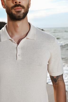 CHUBA Bej Erkek Polo Yaka Triko T-shirt 2