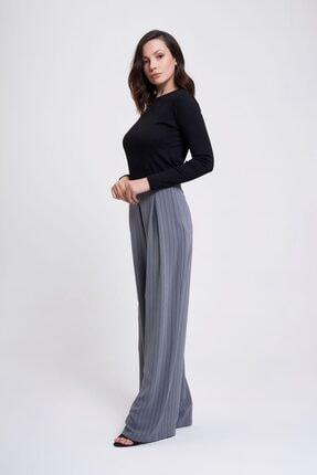 Çizgili Pileli Bol Paça Pantolon (Gri) resmi