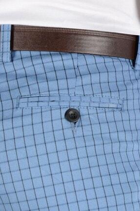 Terapi Men Erkek Ekoseli Slim Fit Keten Pantolon 20k-2200258 Mavi 3