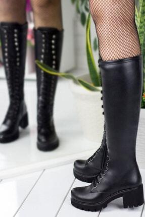 karazona Kadın Yandan Fermuarlı Bağcıklı Deri Görünümlü Çizme Kz2511 1