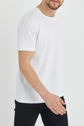 XHAN Beyaz Basic Bisiklet Yaka T-shirt 1kxe1-44489-01 4