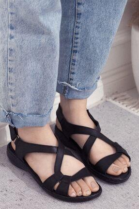 Siyah Hakiki Deri Cırtlı Günlük Kadın Sandalet • A202ymwt0003 A202YMWT0003
