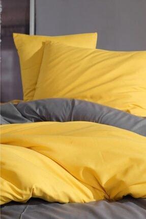 LadyModa Yellow&grey Çift Kişilik %100 Pamuk Nevresim Takımı 4