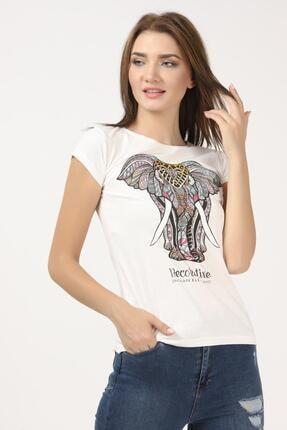 Tena Moda Kadın Ekru Fil Baskılı Tişört 1