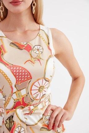 Journey U Yaka Elbise - Etek Altı Asimetrik, Belden Kuşaklı Kolsuz 1