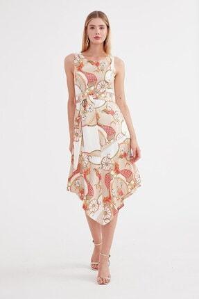 Journey U Yaka Elbise - Etek Altı Asimetrik, Belden Kuşaklı Kolsuz 2