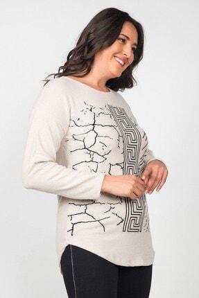 Womenice Kadın Ekru Pamuklu Labirent Flok Basklı Büyük Beden Bluz 3