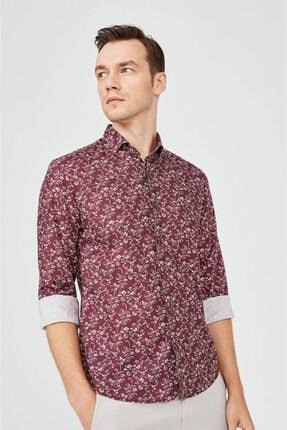 Avva Erkek Bordo Baskılı Klasik Yaka Slim Fit Gizli Patlı Gömlek A02y2051 1