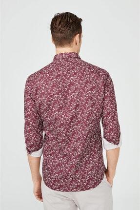 Avva Erkek Bordo Baskılı Klasik Yaka Slim Fit Gizli Patlı Gömlek A02y2051 2