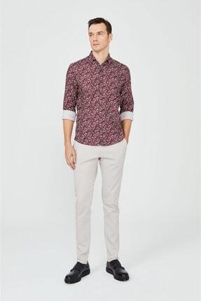 Avva Erkek Bordo Baskılı Klasik Yaka Slim Fit Gizli Patlı Gömlek A02y2051 3