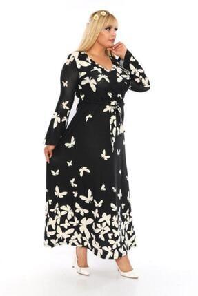 Şirin Butik Kadın Büyük Beden Kelebek Desenli Kruvaze Yaka Volan Kol Elbise 0